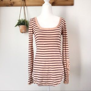 Free People Striped Laced Long Sleeved Shirt Small
